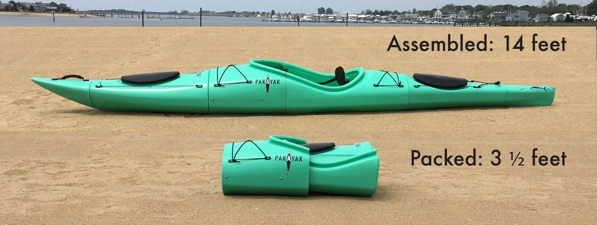 Pakayak packable kayak 14 feet to 3.5 feet