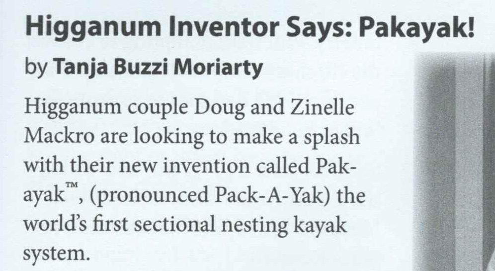 Haddam Bulletin: Higganum Inventor Says Pakayak!