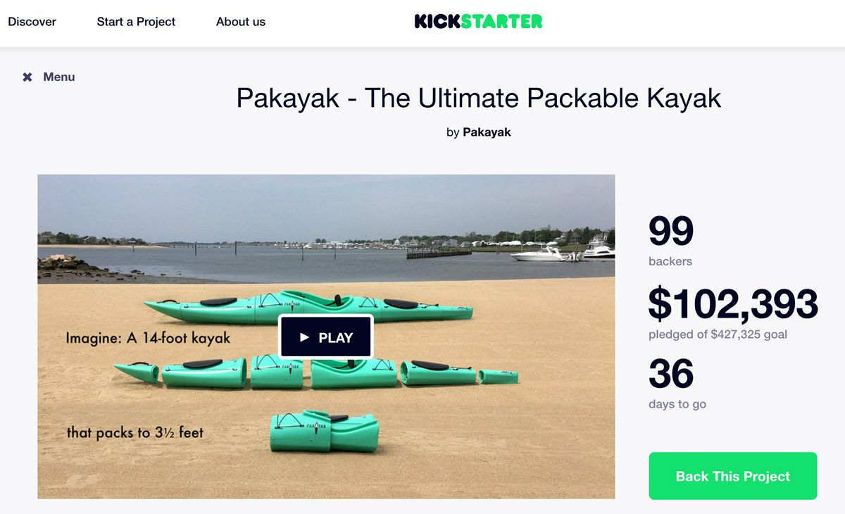 New packable kayak raises over $100k in crowdfunding since Thursday