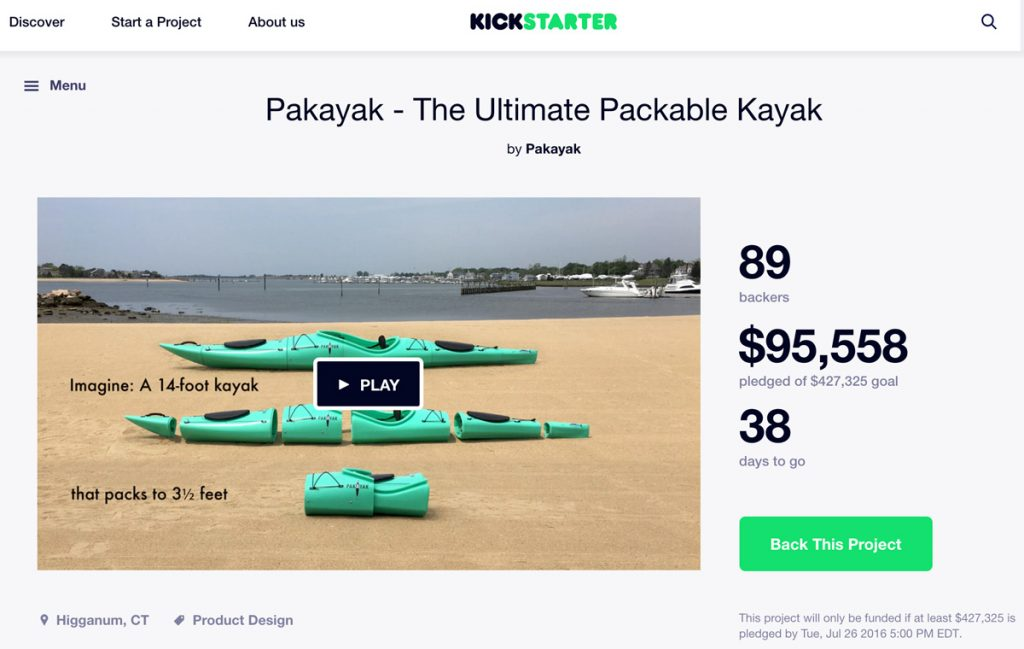 Kickstarter launch page for Pakayak