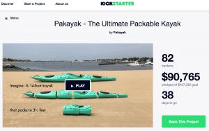 Pakayak Kickstarter launch page