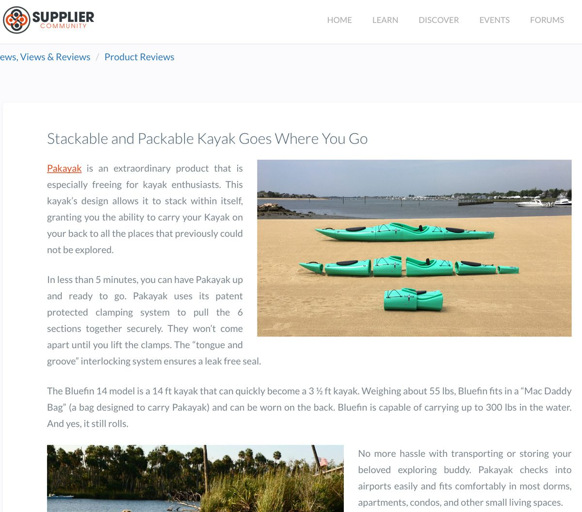 Supplier Community: Stackable and Packable Kayak Goes Where You Go