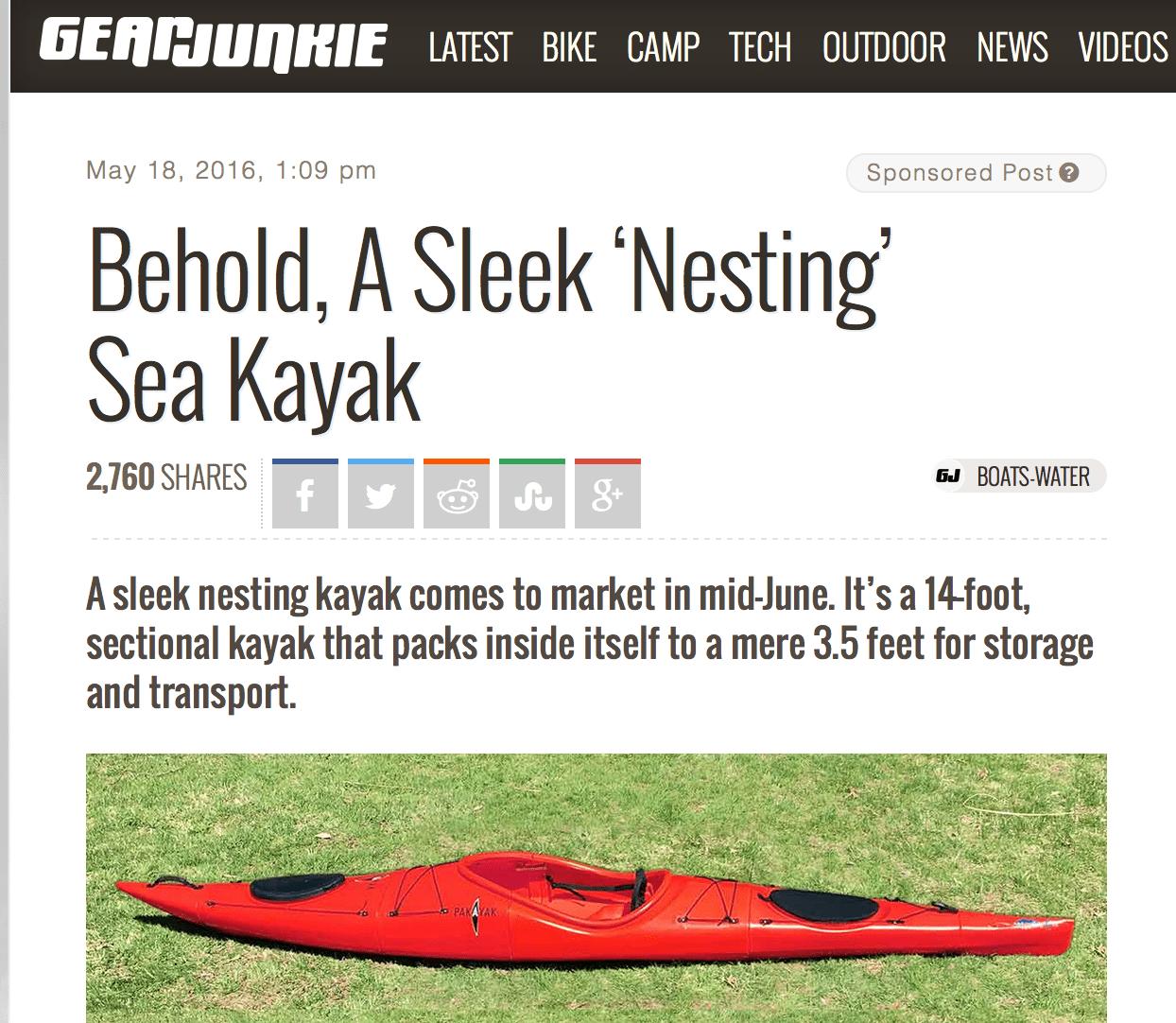 GearJunkie: Behold, A Sleek 'Nesting' Sea Kayak