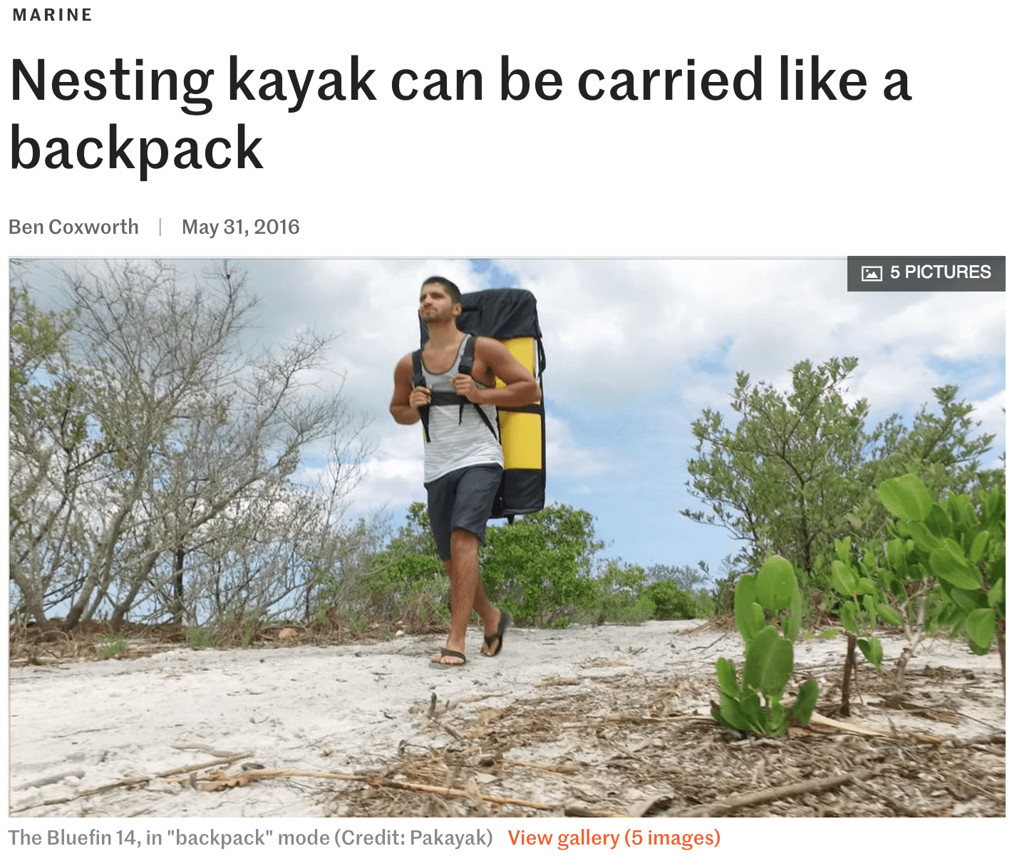gizmag.com: Nesting kayak can be carried like a backpack