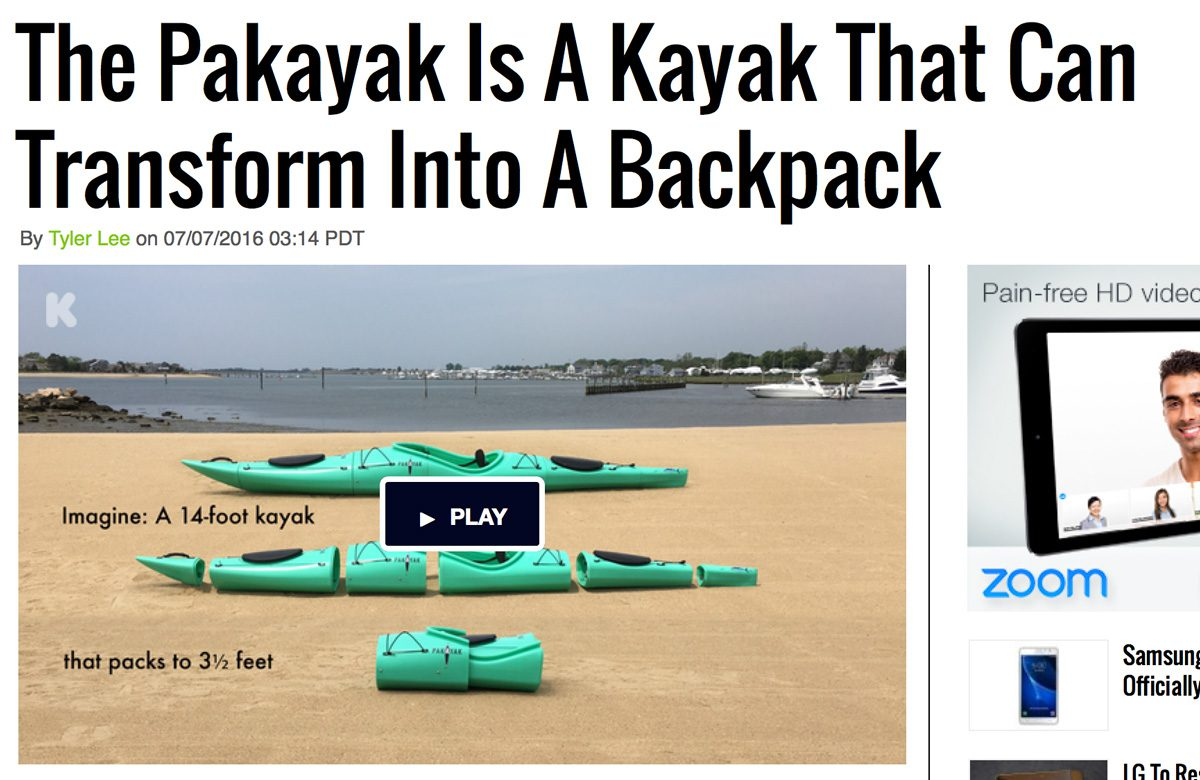 Ubergizmo: The Pakayak Is A Kayak That Can Transform Into A Backpack