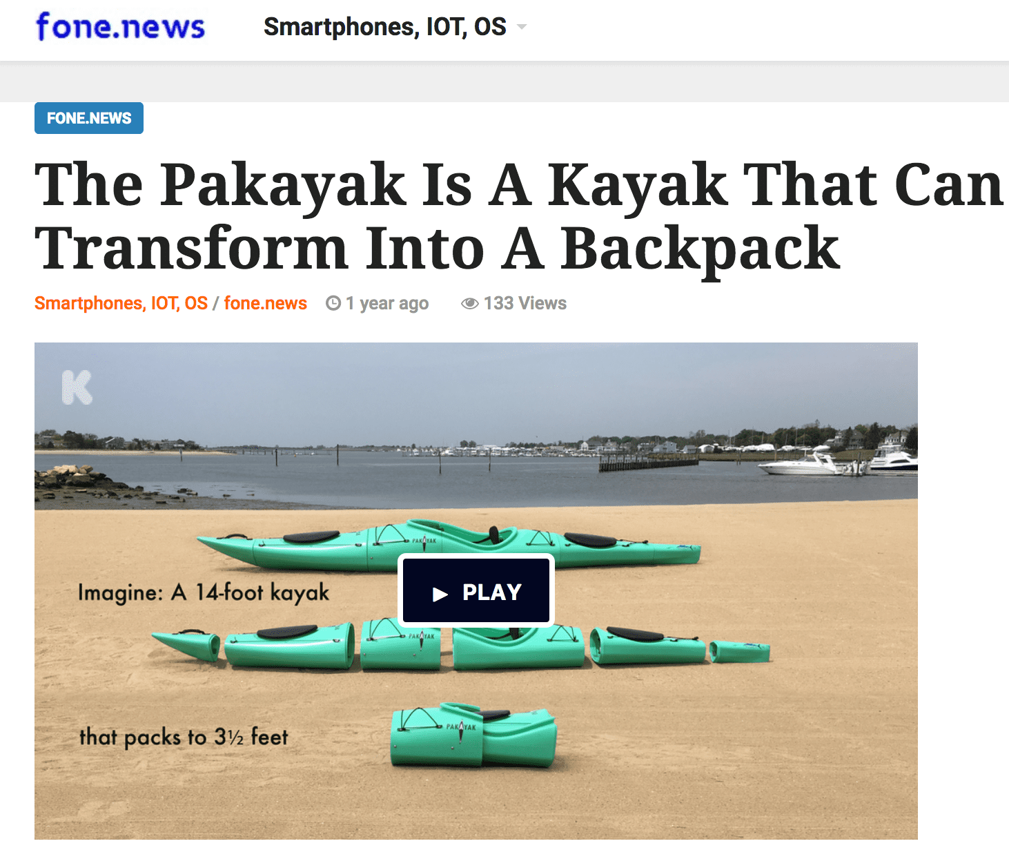 fone.news: The Pakayak is a Kayak That Can Transform Into a Backpack
