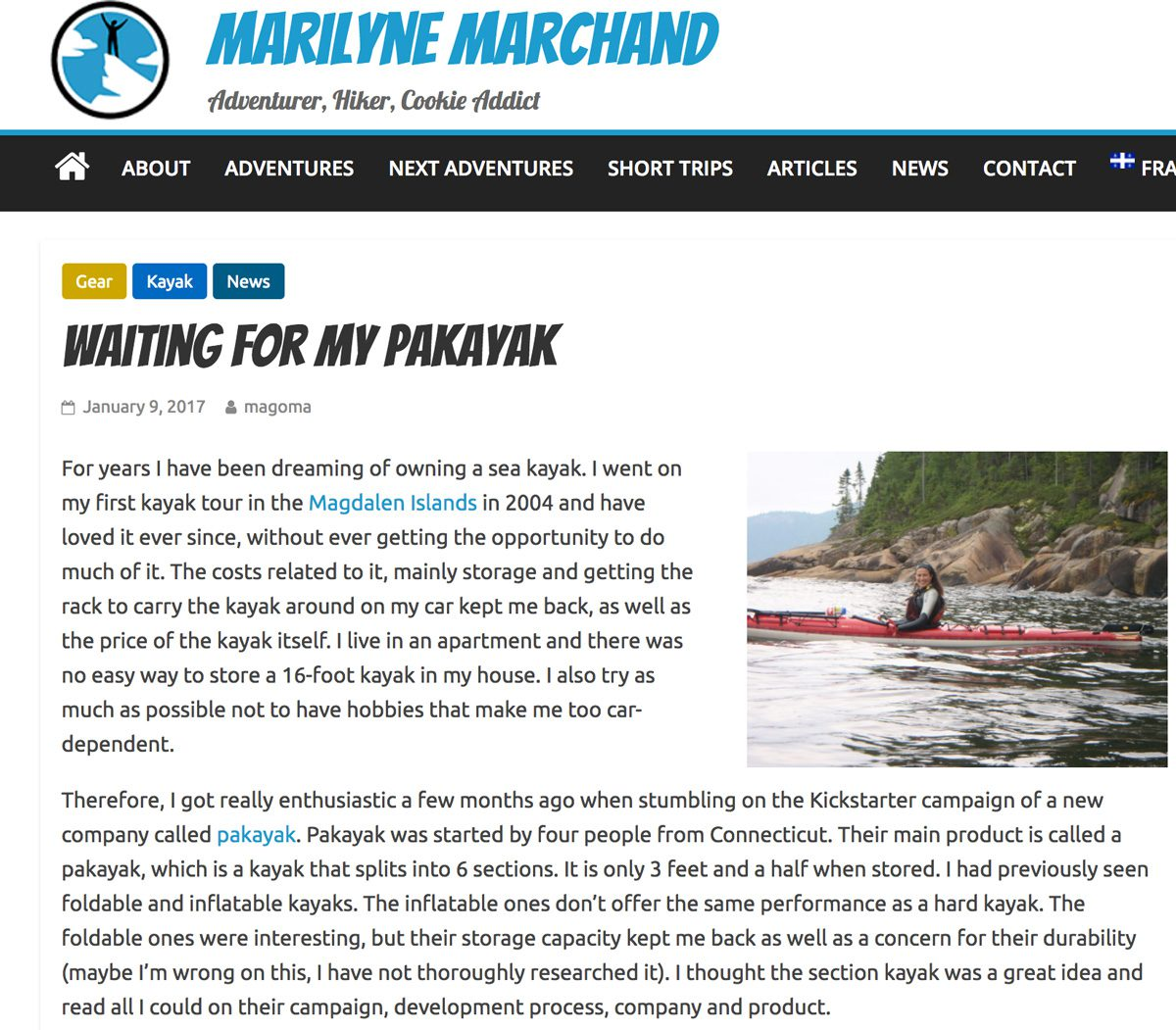 Marilyne Marchand: Waiting for my Pakayak