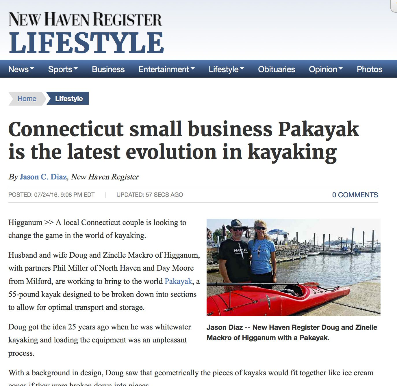 New Haven Register: Connecticut small business Pakayak is the latest evolution in kayaking