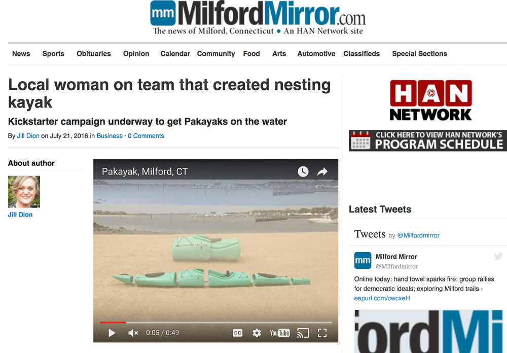 Milford Mirror: Local woman on team that created nesting kayak